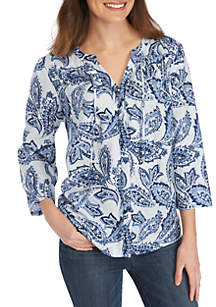 New Directions® Long Sleeve Y Neck Woven Top