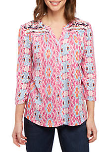New Directions® 3/4 Sleeve Y Neck Woven Top