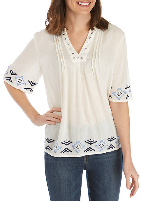 New Directions® Elbow Sleeve Embellished Pintuck Top
