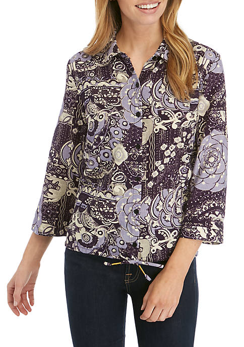 New Directions® 3/4 Sleeve Button Down Shirt