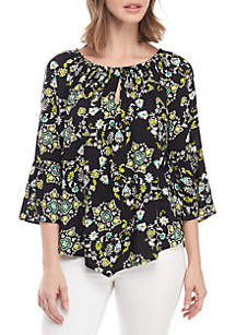 New Directions® Keyhole Peasant Woven Paisley Top