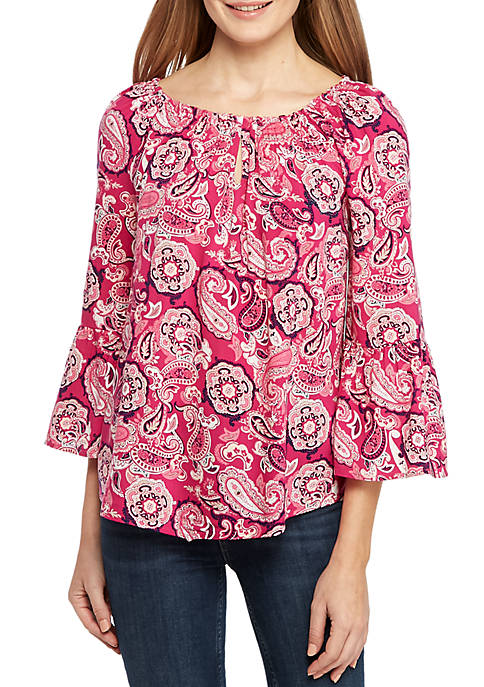 Long Bell Sleeve Keyhole Peasant Top