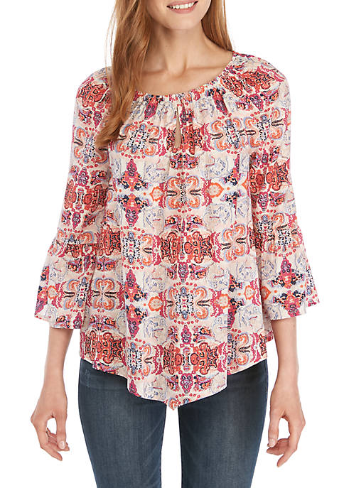 New Directions® Keyhole Peasant Paisley Top