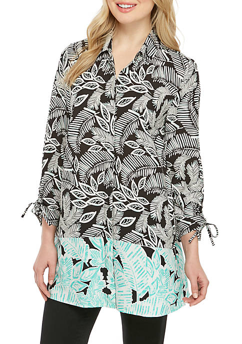 New Directions® Essential Cinched Sleeve Button Down Printed
