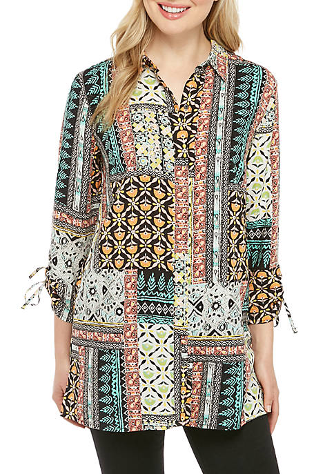 Essential Cinched Sleeve Button Down Printed Top