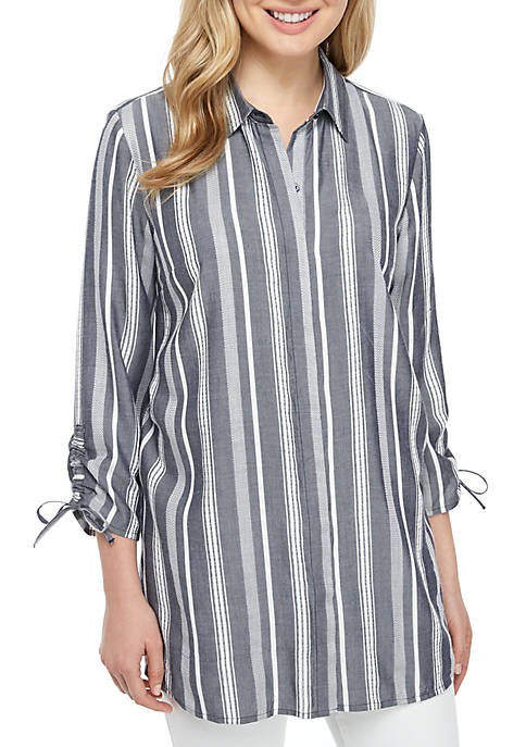 New Directions® Button Front Stripe Top