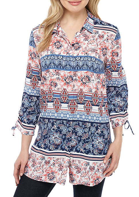 New Directions® Button Front Printed Top