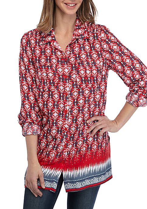 New Directions® Womens Essential Roll Tab Camp Shirt