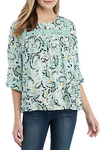New Directions® 3/4 Lace Detail Swing Top