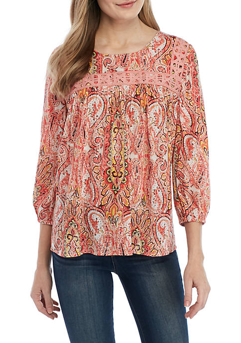 3/4 Lace Detail Swing Top