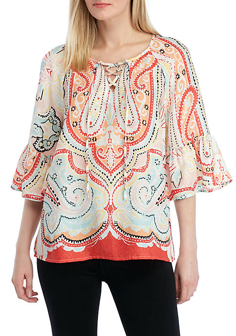 New Directions® 3/4 Flare Sleeve Lace Up Top
