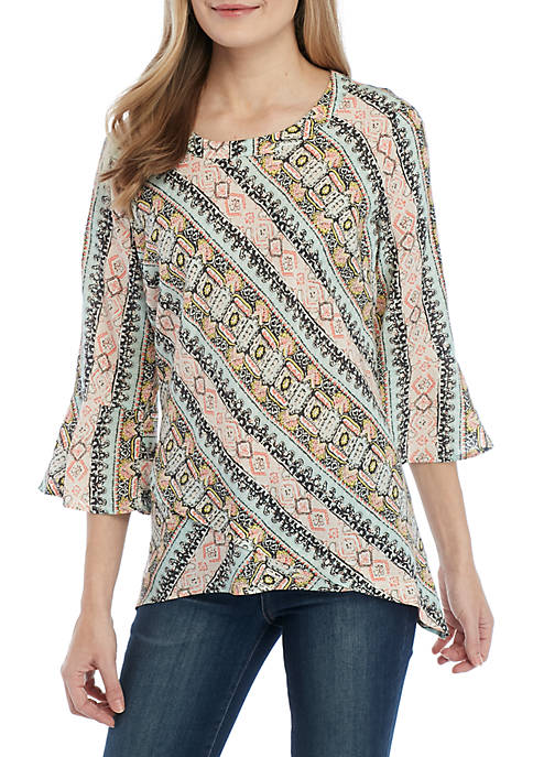 New Directions® 3/4 Bell Sleeve Printed Top