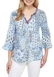 New Directions® 3/4 Sleeve Printed Top