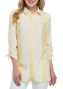 1c45a08b Crown & Ivy™ Solid Ruffle Neck Top · New Directions® Essential Cinch Sleeve Button  Down Shirt