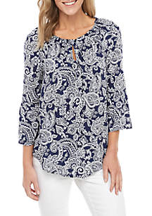 New Directions® Keyhole Printed Top