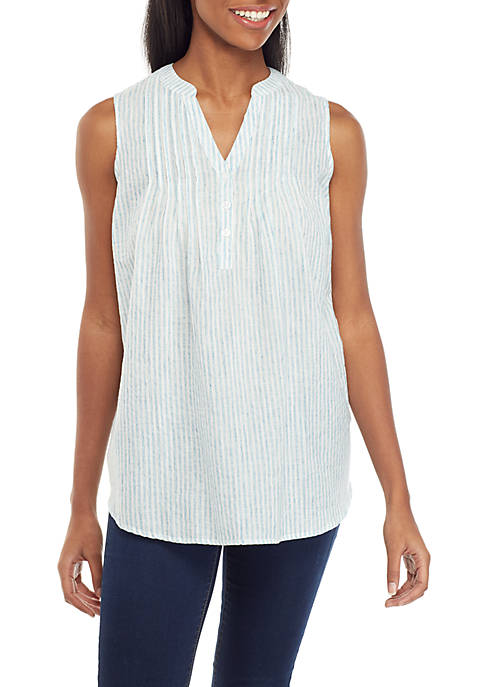 New Directions® Sleeveless Y Neck Top