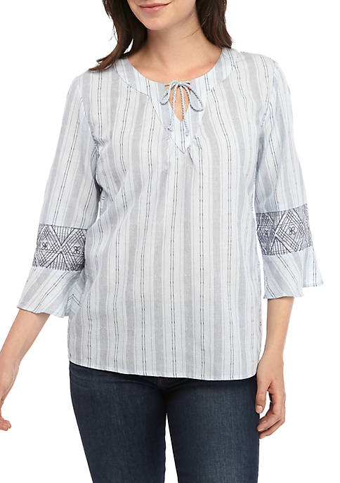 New Directions® Womens 3/4 Sleeve Split Neck Printed