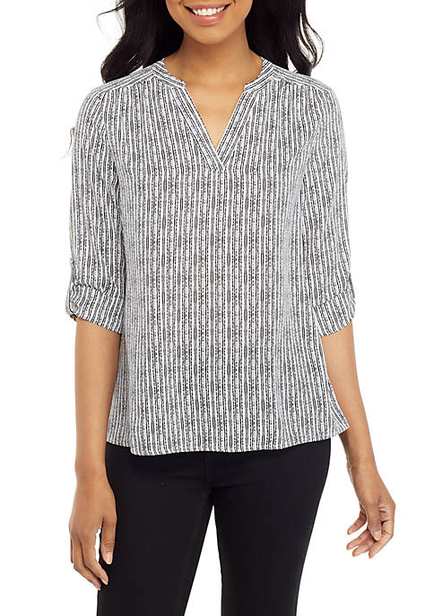 Womens Roll Tab Popover Mixed Print Top