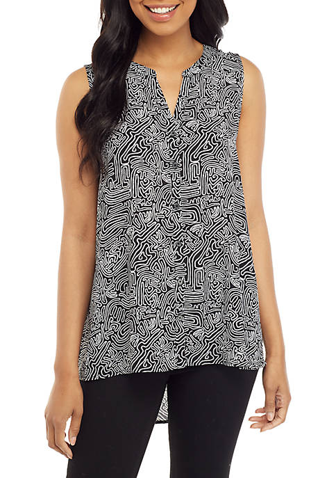 Printed Sleeveless Button Up Top