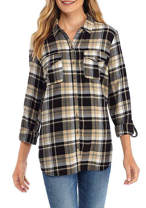 New Directions® Womens Button Front Shirt