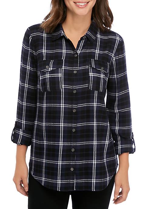 New Directions® Womens Boyfriend Shirt