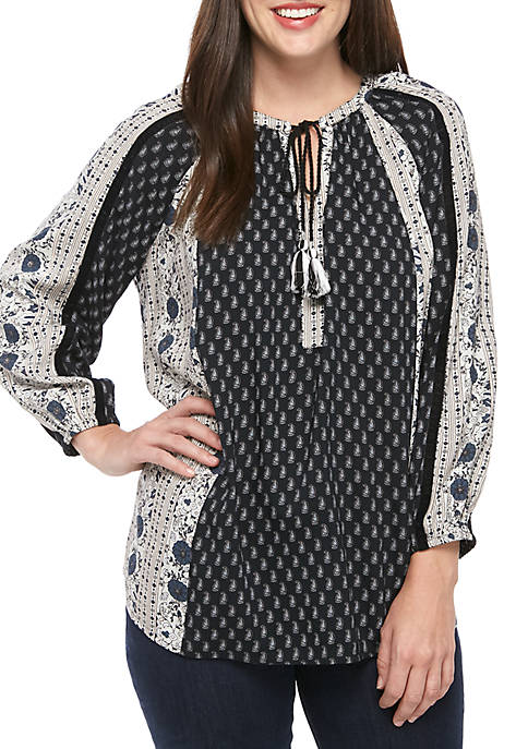 New Directions® Tie Neck Peasant Twin Print Top