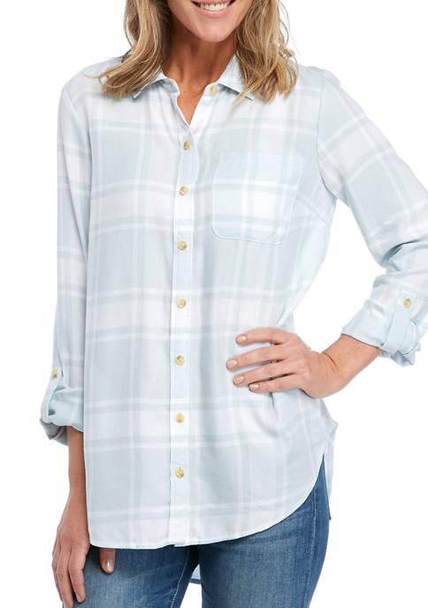 Womens Yarn Dye Boyfriend Shirt