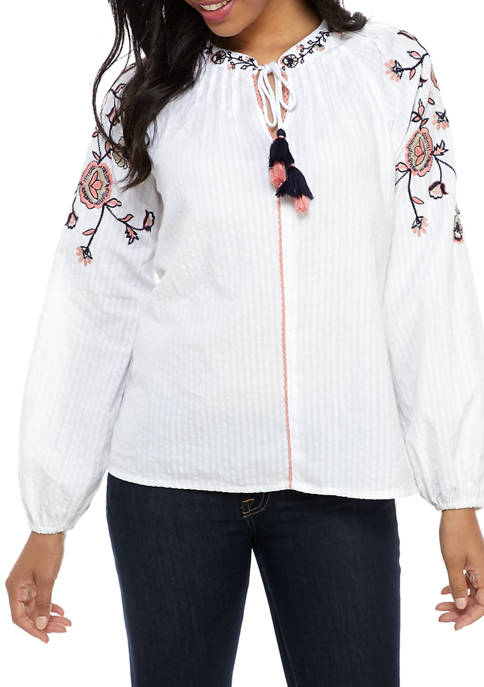 Womens Embroidered Pleated Shoulder Peasant Top