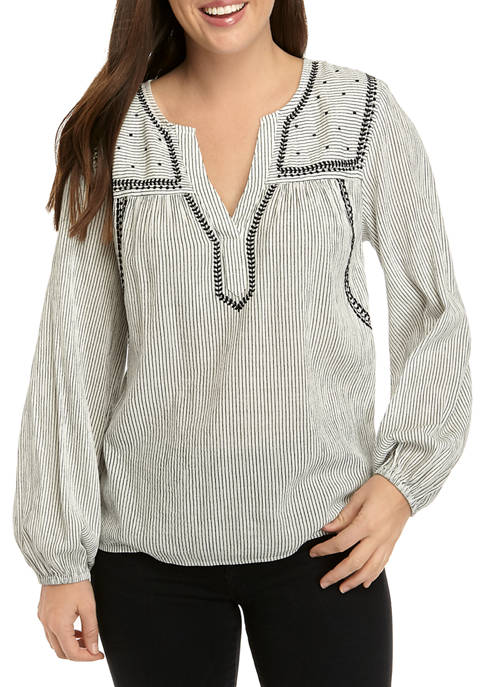 Womens Pieced Peasant Top