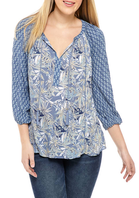 New Directions® Womens Printed Split Neck Peasant Top