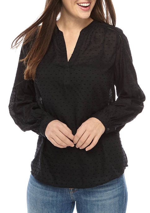 Womens Yarn Dye Peasant Top