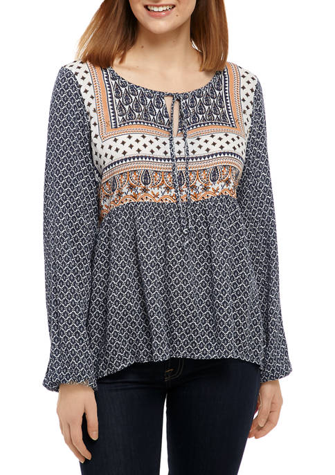Womens Keyhole Neck Peasant Top