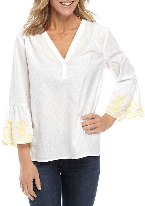 Womens Embroidered Flutter Sleeve Popover Top