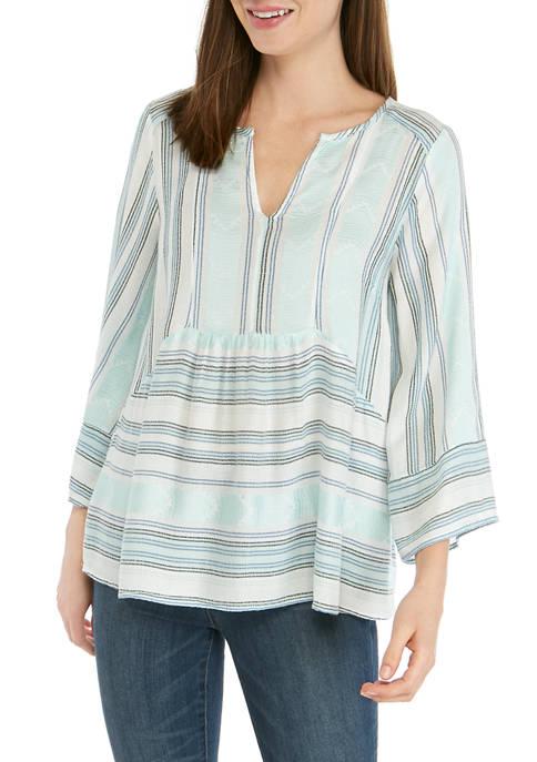 Womens Jacquard Stripe Bell Sleeve Top
