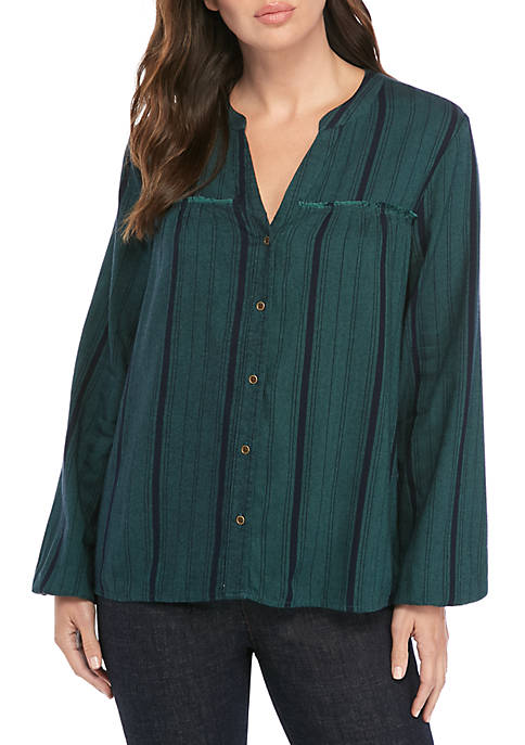 New Directions® Button Down Peasant Top