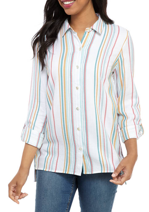 New Directions® Womens Side Button Stripe Tunic