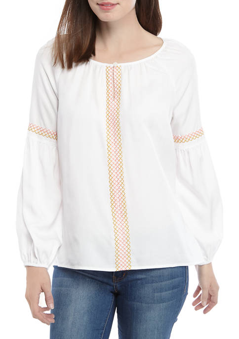 New Directions® Womens Embroidered Peasant Top