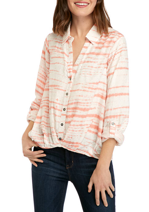New Directions® Womens Button Front Tie Dye Shirt