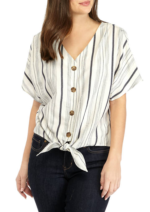 New Directions® Womens Button Front Drop Shoulder Top