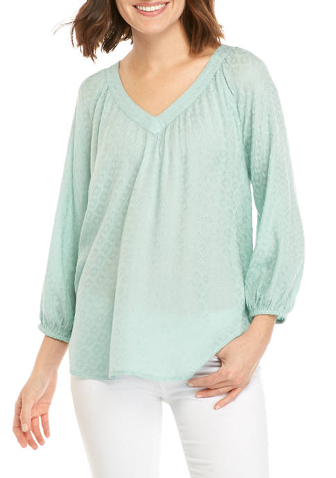Womens Dobby Peasant Top