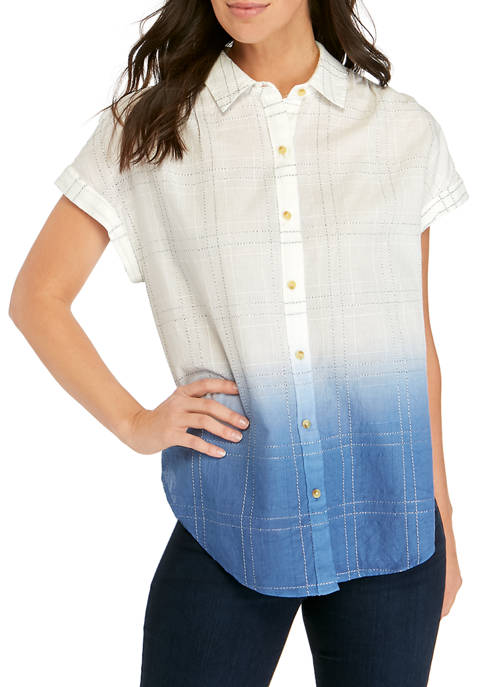 New Directions® Womens Dolman Sleeve Button Down Top
