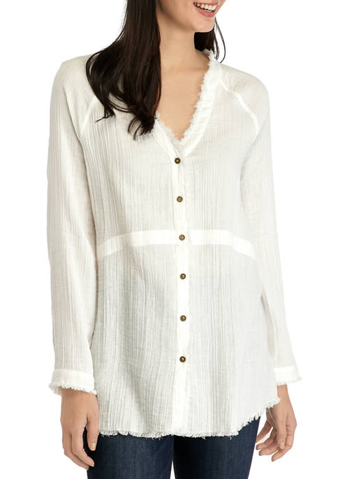 Womens Smocked Button Front Top