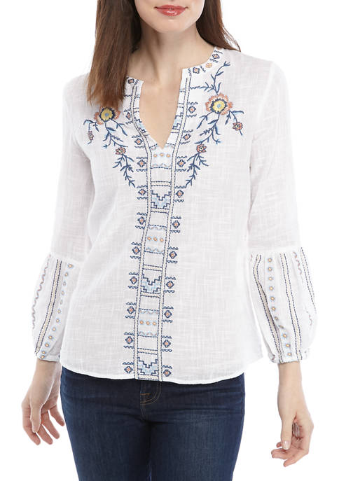 New Directions® Womens Embroidered Long Sleeve Tunic