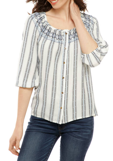 New Directions® Womens Smocked Neck Peasant Blouse