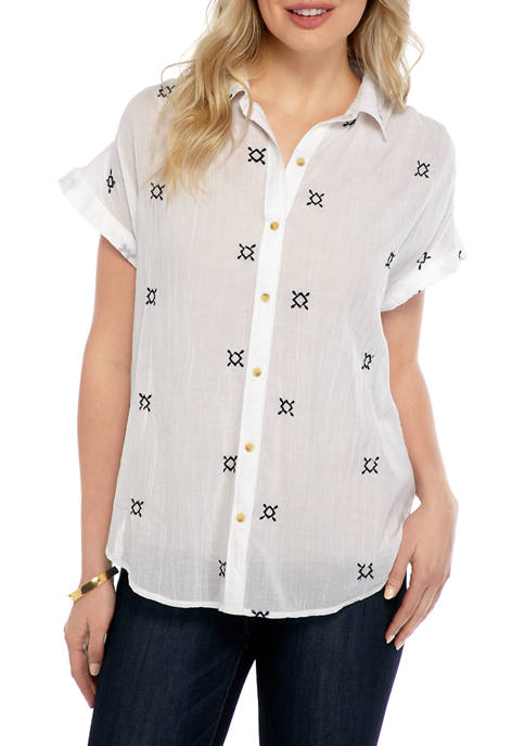 Womens Embroidered Short Sleeve Button Down Shirt