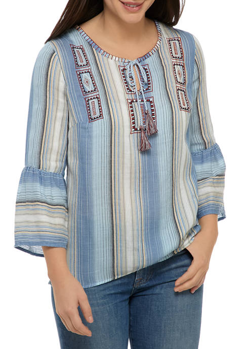 New Directions® Womens Bell Sleeve Embroidered Peasant Top