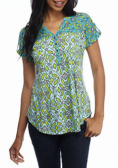 New Directions® Weekend Button Front Printed Dolman Tee