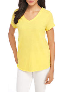EDV Solid Double V Neck Tee
