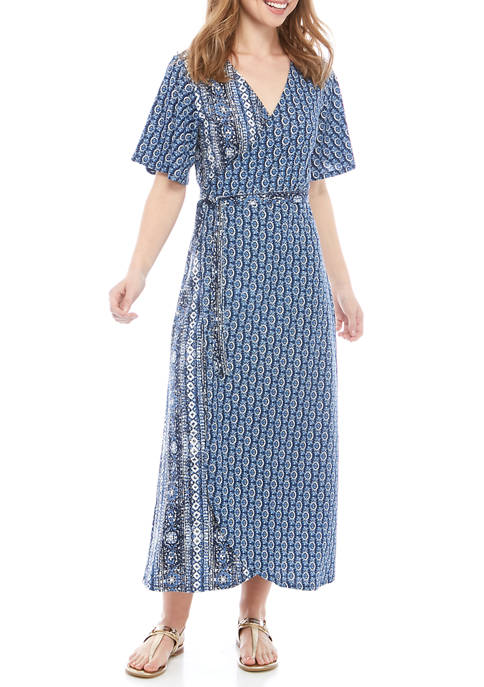 New Directions® Petite Wrap Front Midi Dress