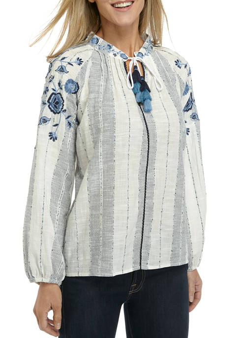 New Directions® Petite Embroidered Peasant Top